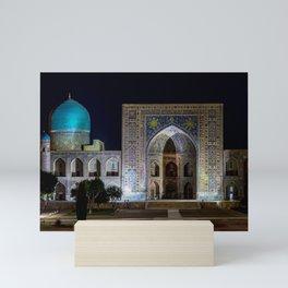 Tilya-Kori Madrasah in Registan square - Samarkand, Uzbekistan Mini Art Print