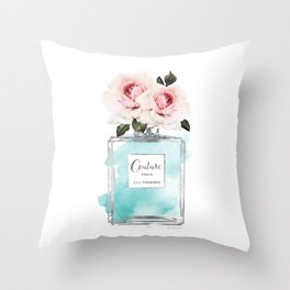 Perfume, watercolor, perfume bottle, with flowers, Teal, Silver, peonies, Fashion illustration, Throw Pillow