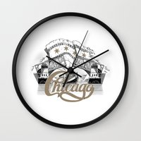 chicago Wall Clocks featuring Chicago by pakowacz