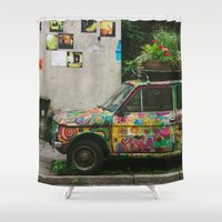 funky Shower Curtains featuring Funky Car by Pati Designs