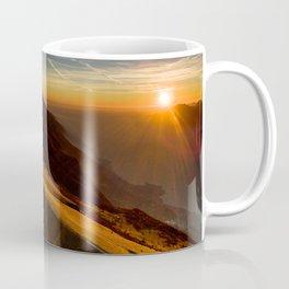 monte baldo garda lake italy drone shot aerial view sunset mountains dust path Coffee Mug