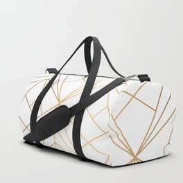 Geometric Gold Pattern With White Shimmer Duffle Bag