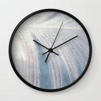 angel wings Wall Clocks featuring Angel Wings by Kimberley Britt
