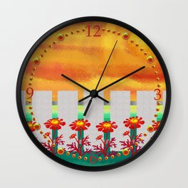 Sunset Marigolds Wall Clock