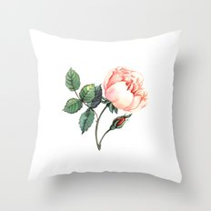 Illustration with watercolor rose Throw Pillow