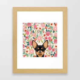 Chihuahua dog floral pet pure breed gifts for chihuahua black and tan Framed Art Print