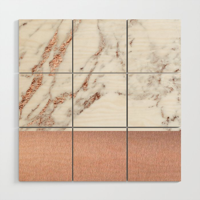 Rose gold marble and foil Wood Wall Art by marbleco | Society6