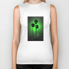 Palm Trees Green Glow Biker Tank