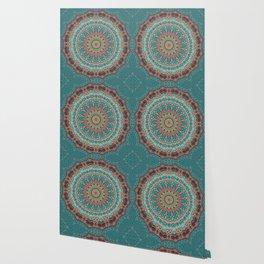 Vintage Turquoise Mandala Design Wallpaper