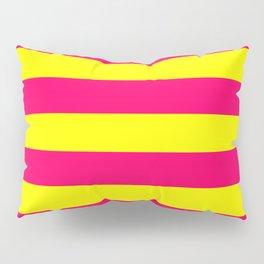 Bright Neon Pink and Yellow Horizontal Cabana Tent Stripes Pillow Sham