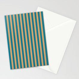Laguna Blue and Mango Stripes Stationery Cards