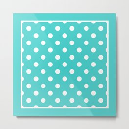 Turquoise Polka Dots Palm Beach Preppy Metal Print