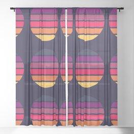 Classic Retro Stripes In Circle Shape - Summer Sunset Eiji Sheer Curtain