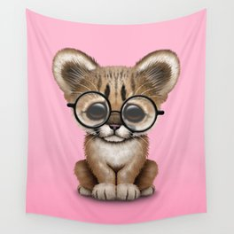 Cute Cougar Cub Wearing Reading Glasses on Pink Wall Tapestry