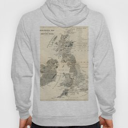 Vintage and Retro Geological Map British Isles Hoody