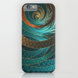 Beautiful Corded Leather Turquoise Fractal Bangles iPhone Case