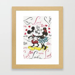 Mickey and Minnie in love Framed Art Print