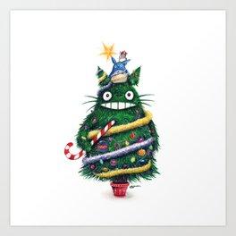 Christmas TOTOR0 (Studio Ghibli) Art Print