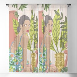 Anything worth having, is worth the wait, Morocco Architecture Bohemian Brown Woman Diversity Nature Sheer Curtain