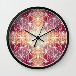 Flower of Life Magenta Wall Clock