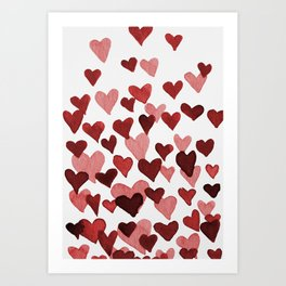 Valentine's Day Watercolor Hearts - red Art Print