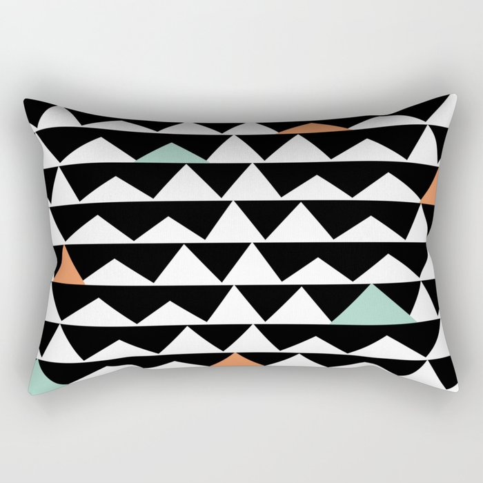 Tribal Triangles, Geometric Aztec Andes Pattern Rectangular Pillow