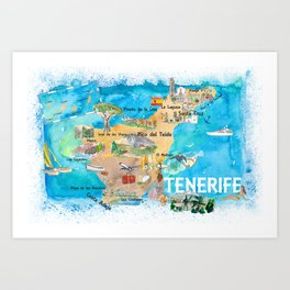 Tenerife Canarias Spain Illustrated Map with Landmarks and Highlights Art Print