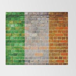 Ireland flag on a brick wall Throw Blanket