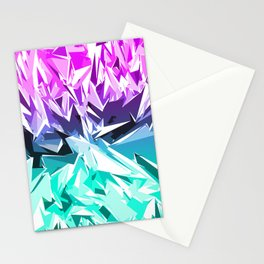 Modern Trendy Purple and Teal Fractal Geo Stationery Cards