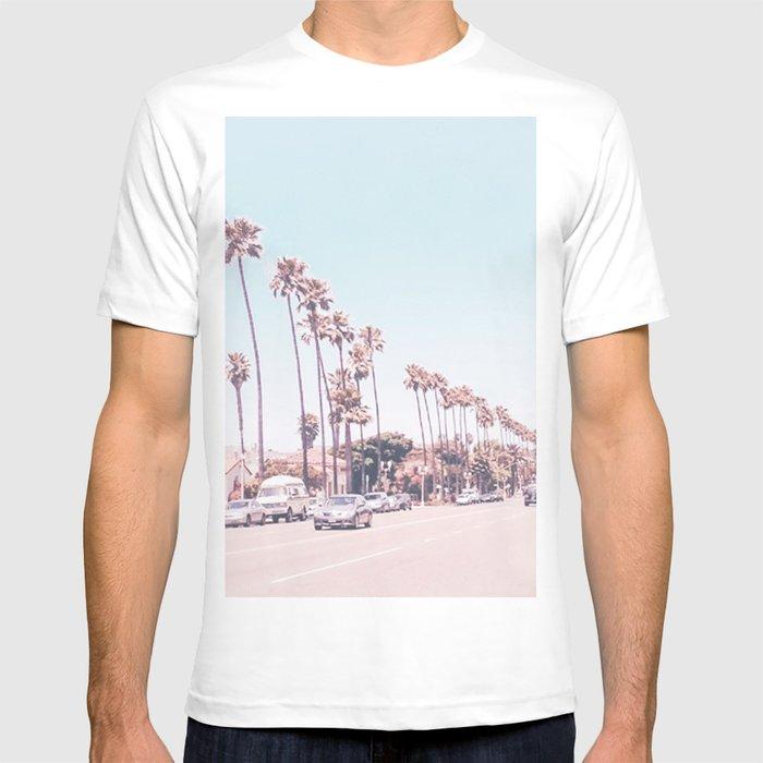 California Sidewalks // Blue Ocean Skyline Roadside Palm Trees Tropical Hollywood Paradise Graphic T-shirt by Desertxpalm - White - LARGE - Mens Fitte