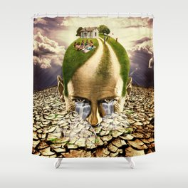 Inhabited Head Shower Curtain