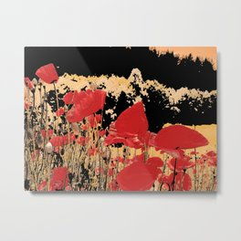 Red poppy field in the mountain, altered nature photo, adorable poppies, flower image, botanic print Metal Print
