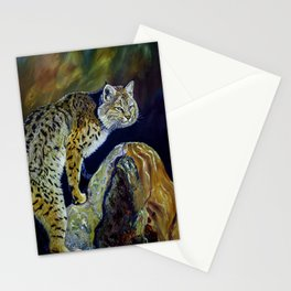 Bobcat  Painting  wildlife art  bold brushstrokes combined with vivid colours Alla Prima style favou Stationery Cards
