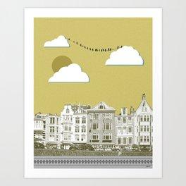 Yellow city Art Print