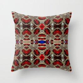 trendy stylish luxury girly glam red silver rhinestone Throw Pillow