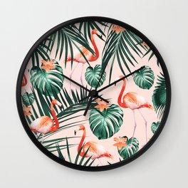 Tropical Flamingo Floral Summer Pattern #1 #tropical #decor #art #society6 Wall Clock