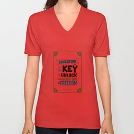Lab No.4 - Education Is The Key To Unlock - George Washington Carver Inspirational Quotes poster Unisex V-Neck