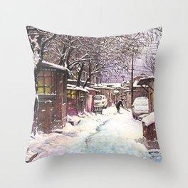 Snow alley Throw Pillow