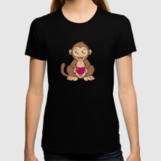 Monkey Love LARGE Black Womens Fitted Tee