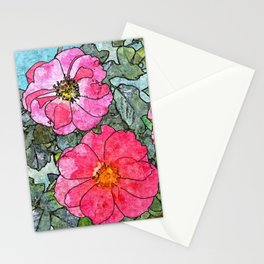 Pink Roses Rosebush Rose Bouquet Floral Painting Stationery Cards