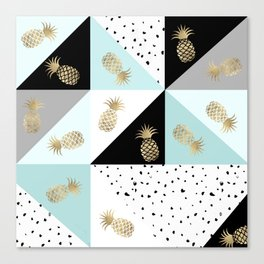 Pastel color block watercolor dots faux gold pineapple Canvas Print