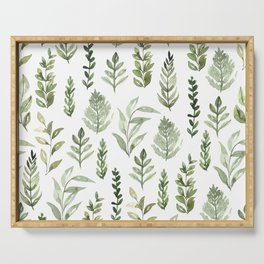 Watercolor leaves Serving Tray