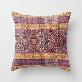 Kolyai Long Antique Persian Kurdish Rug Print Throw Pillow