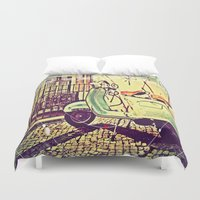 vespa Duvet Covers featuring vespa by The83juice