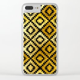 Turkish carpet gold black. Patchwork mosaic oriental kilim rug Clear iPhone Case