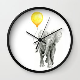 Elephant Watercolor Yellow Balloon Whimsical Baby Animals Wall Clock