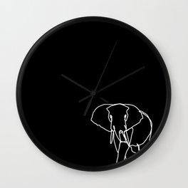 Solitary Elephant - Black Line Art Wall Clock