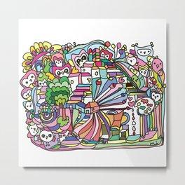 doodle owl village Metal Print