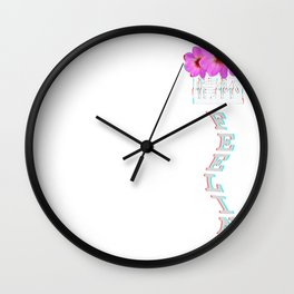 Aesthetic Glitch Roses. Vaporwave Feelings with flowers graphic Wall Clock