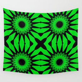 Green & Black Pinwheel Flowers Wall Tapestry
